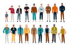 Άτομα, πολλοί αρσενικοί χαρακτήρες των διαφορετικών ηλικιών απεικόνιση αποθεμάτων