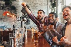 Άτομα που προσέχουν το ποδόσφαιρο και που γιορτάζουν τη νίκη στον αθλητικό φραγμό στοκ φωτογραφίες