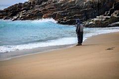 Άτομα στην παραλία, άνοιξη Στοκ Εικόνες