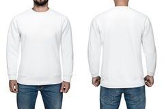 Άτομα στο κενό άσπρο πουλόβερ, την μπροστινή και πίσω άποψη, άσπρο υπόβαθρο Μπλούζα, πρότυπο και πρότυπο σχεδίου για την τυπωμένη Στοκ φωτογραφία με δικαίωμα ελεύθερης χρήσης