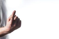 Άτομο, δάσκαλος, δάχτυλο προειδοποίησης λεωφορείων, δάχτυλο τινάγματος, σημείο στο ασβέστιο στοκ εικόνες
