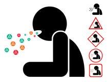 Άτομο βήχα με τα βακτηρίδια ιών, εικονίδιο, σημάδι, σύμβολο απεικόνιση αποθεμάτων