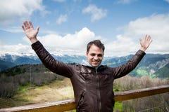 Άτομο βουνών διακοπών χειμερινών διακοπών έννοιας ελευθερίας Στοκ φωτογραφία με δικαίωμα ελεύθερης χρήσης