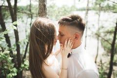 Άτομο γαμήλιων ζευγών, νύφη που φιλά και που αγκαλιάζει σε ένα υπόβαθρο του ποταμού, βουνά Πορτρέτο ομορφιάς Στοκ εικόνες με δικαίωμα ελεύθερης χρήσης
