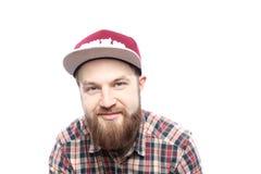 Άτομο γενειοφόρο, πορτρέτο με το αστείο άτομο Στοκ Φωτογραφίες