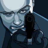 Άτομο για να στοχεύσει από κοντά με ένα πιστόλι ελεύθερη απεικόνιση δικαιώματος