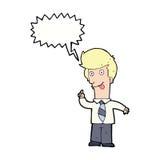 άτομο γραφείων κινούμενων σχεδίων με την τρελλή ιδέα με τη λεκτική φυσαλίδα Στοκ Εικόνα