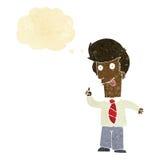 άτομο γραφείων κινούμενων σχεδίων με την τρελλή ιδέα με τη σκεπτόμενη φυσαλίδα Στοκ Εικόνα