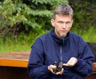 άτομο γυαλιού πεδίων Στοκ Φωτογραφία