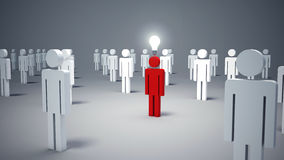 Άτομο εικονιδίων, πρόσωπο και μια λάμπα φωτός Έννοια της ιδέας Στοκ φωτογραφία με δικαίωμα ελεύθερης χρήσης