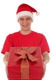 άτομο εκμετάλλευσης δώρων Χριστουγέννων στοκ φωτογραφία με δικαίωμα ελεύθερης χρήσης