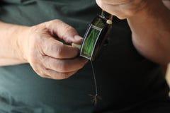 Άτομο, εξέλικτρο αλιείας μυγών και τεχνητή μύγα Στοκ Εικόνα
