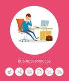 Άτομο επιχειρησιακής προόδου που εργάζεται στη συσκευή lap-top ελεύθερη απεικόνιση δικαιώματος