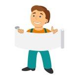 Άτομο εργαζομένων με το έμβλημα στο επίπεδο ύφος κινούμενων σχεδίων που απομονώνεται στο λευκό απεικόνιση αποθεμάτων