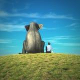 Άτομο και ελέφαντας από κοινού διανυσματική απεικόνιση