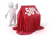 Άτομο και σπίτι -50% (πορεία ψαλιδίσματος συμπεριλαμβανόμενη) Στοκ Εικόνες