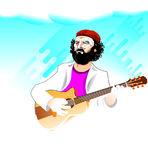 Άτομο κιθάρων Στοκ εικόνα με δικαίωμα ελεύθερης χρήσης