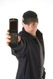 άτομο κινητών τηλεφώνων Στοκ εικόνα με δικαίωμα ελεύθερης χρήσης