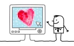 Άτομο κινούμενων σχεδίων με τη μεγάλη καρδιά στον υπολογιστή Στοκ Φωτογραφία