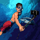 Άτομο κινούμενων σχεδίων κάτω από το νερό που παίρνει τις εικόνες του με έναν καρχαρία Στοκ Φωτογραφίες