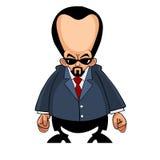 Άτομο κινούμενων σχεδίων με ένα μεγάλο κεφάλι σε ένα κοστούμι και τα γυαλιά ηλίου Στοκ εικόνες με δικαίωμα ελεύθερης χρήσης
