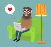 Άτομο κινούμενων σχεδίων με ένα lap-top Στοκ Εικόνα