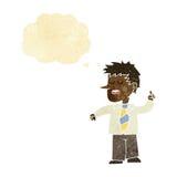 άτομο κινούμενων σχεδίων με την καλή ιδέα με τη σκεπτόμενη φυσαλίδα Στοκ φωτογραφία με δικαίωμα ελεύθερης χρήσης