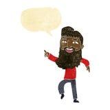 άτομο κινούμενων σχεδίων με τη γενειάδα που γελά και που δείχνει με τη λεκτική φυσαλίδα Στοκ Εικόνες