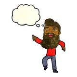 άτομο κινούμενων σχεδίων με τη γενειάδα που γελά και που δείχνει με τη σκεπτόμενη φυσαλίδα Στοκ φωτογραφία με δικαίωμα ελεύθερης χρήσης