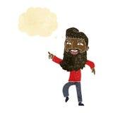 άτομο κινούμενων σχεδίων με τη γενειάδα που γελά και που δείχνει με τη σκεπτόμενη φυσαλίδα Στοκ Εικόνες