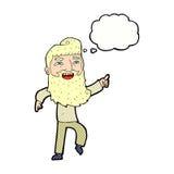 άτομο κινούμενων σχεδίων με τη γενειάδα που γελά και που δείχνει με τη σκεπτόμενη φυσαλίδα Στοκ Φωτογραφία