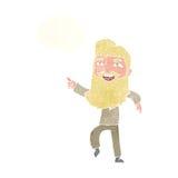 άτομο κινούμενων σχεδίων με τη γενειάδα που γελά και που δείχνει με τη σκεπτόμενη φυσαλίδα Στοκ φωτογραφίες με δικαίωμα ελεύθερης χρήσης