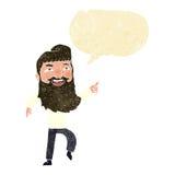 άτομο κινούμενων σχεδίων με τη γενειάδα που γελά και που δείχνει με τη λεκτική φυσαλίδα Στοκ Εικόνα