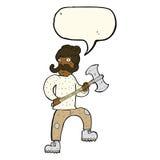 άτομο κινούμενων σχεδίων με το τσεκούρι με τη λεκτική φυσαλίδα Στοκ εικόνες με δικαίωμα ελεύθερης χρήσης