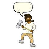 άτομο κινούμενων σχεδίων με το τσεκούρι με τη λεκτική φυσαλίδα Στοκ φωτογραφία με δικαίωμα ελεύθερης χρήσης