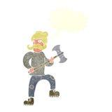 άτομο κινούμενων σχεδίων με το τσεκούρι με τη λεκτική φυσαλίδα Στοκ Φωτογραφία