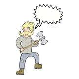 άτομο κινούμενων σχεδίων με το τσεκούρι με τη λεκτική φυσαλίδα Στοκ φωτογραφίες με δικαίωμα ελεύθερης χρήσης