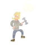 άτομο κινούμενων σχεδίων με το τσεκούρι με τη σκεπτόμενη φυσαλίδα Στοκ Εικόνες