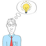 Άτομο κινούμενων σχεδίων που σκέφτεται τη φωτεινή λάμπα φωτός ιδέας Στοκ Φωτογραφίες