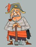 Άτομο κινούμενων σχεδίων στα ενδύματα του πειρατή με ένα τσεκούρι Στοκ Εικόνα