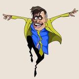 Άτομο κινούμενων σχεδίων στο κοστούμι και δεσμός που πηδά με τη χαρά Στοκ εικόνα με δικαίωμα ελεύθερης χρήσης