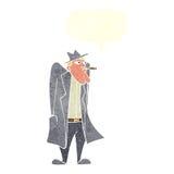 άτομο κινούμενων σχεδίων στο παλτό καπέλων και τάφρων με τη λεκτική φυσαλίδα Στοκ φωτογραφία με δικαίωμα ελεύθερης χρήσης