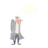 άτομο κινούμενων σχεδίων στο παλτό καπέλων και τάφρων με τη σκεπτόμενη φυσαλίδα Στοκ Φωτογραφίες