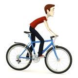 Άτομο κινούμενων σχεδίων στο ποδήλατο απεικόνιση αποθεμάτων