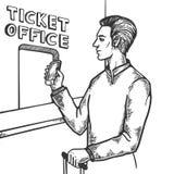 Άτομο κοντά στο διάνυσμα χάραξης γραφείων εκδόσεως εισιτηρίων Στοκ Εικόνα
