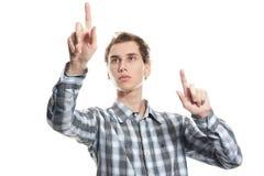 άτομο κουμπιών πέρα από την πί&epsi Στοκ Εικόνες