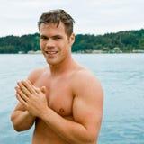 άτομο λιμνών που στέκεται &p Στοκ Φωτογραφίες