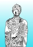 Άτομο λουλουδιών ανθρώπινου σώματος μέσα χέρι σχεδίου απεικόνισης ενεργειακής στο αφηρημένο τέχνης δύναμης πνευμάτων που σύρεται ελεύθερη απεικόνιση δικαιώματος