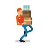 Άτομο μετακινούμενων εργαζομένων που κρατά και που φέρνει τα βαριά κουτιά από χαρτόνι, αγγελιαφόρος σε ομοιόμορφο στο διάνυσμα χα Στοκ Φωτογραφίες
