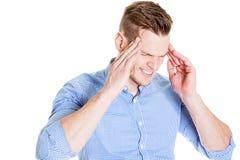 Άτομο με έναν πονοκέφαλο Στοκ Φωτογραφία